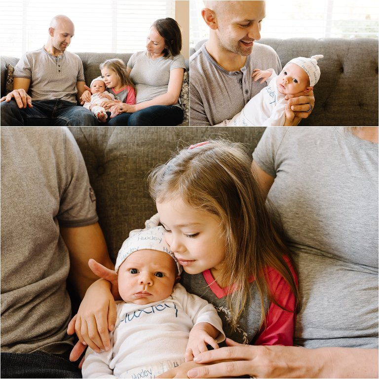 Family on couch with 4 year old girl and newborn boy kitsap newborn photography